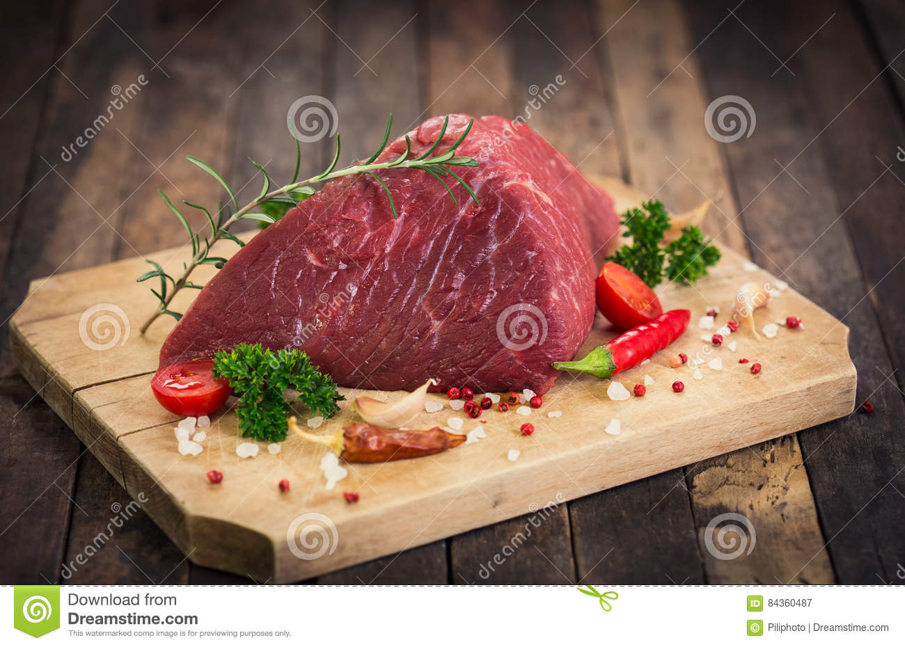 Raw beef meat with spices