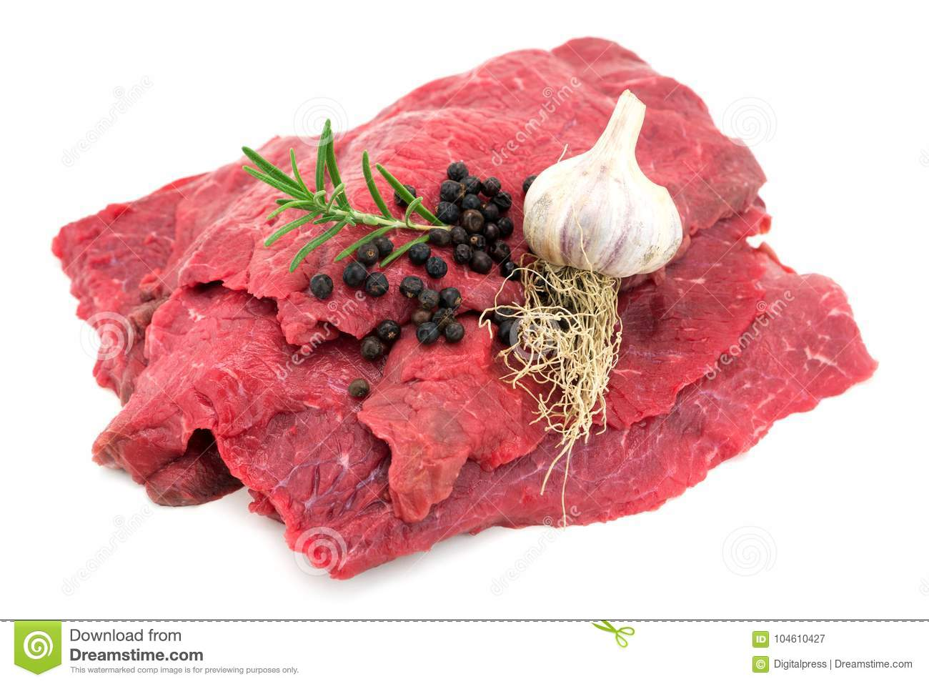 Raw Beef On White