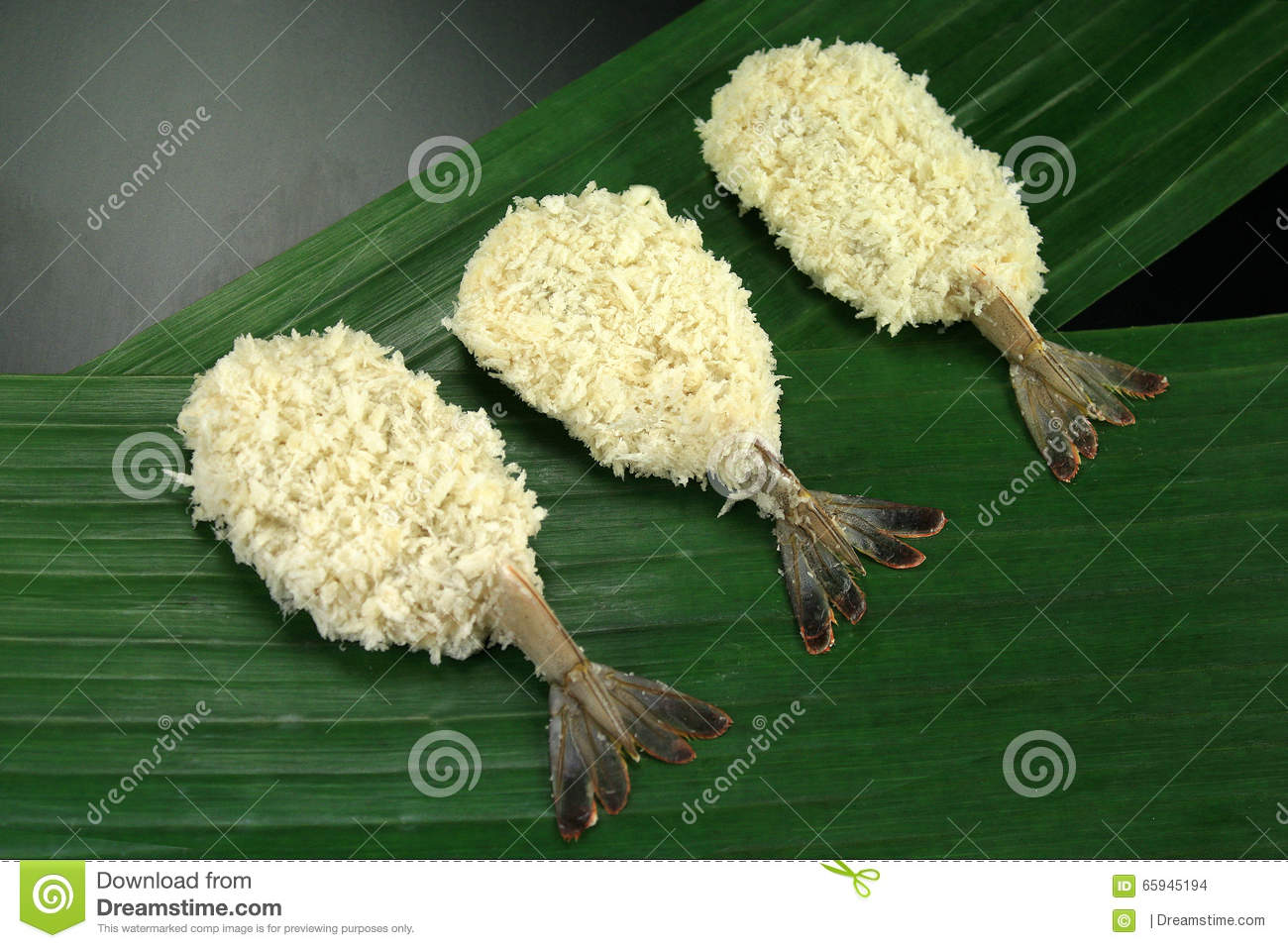 Raw Breaded Butterfly Shrimp Stock Photo Image Of Leafn Prawn
