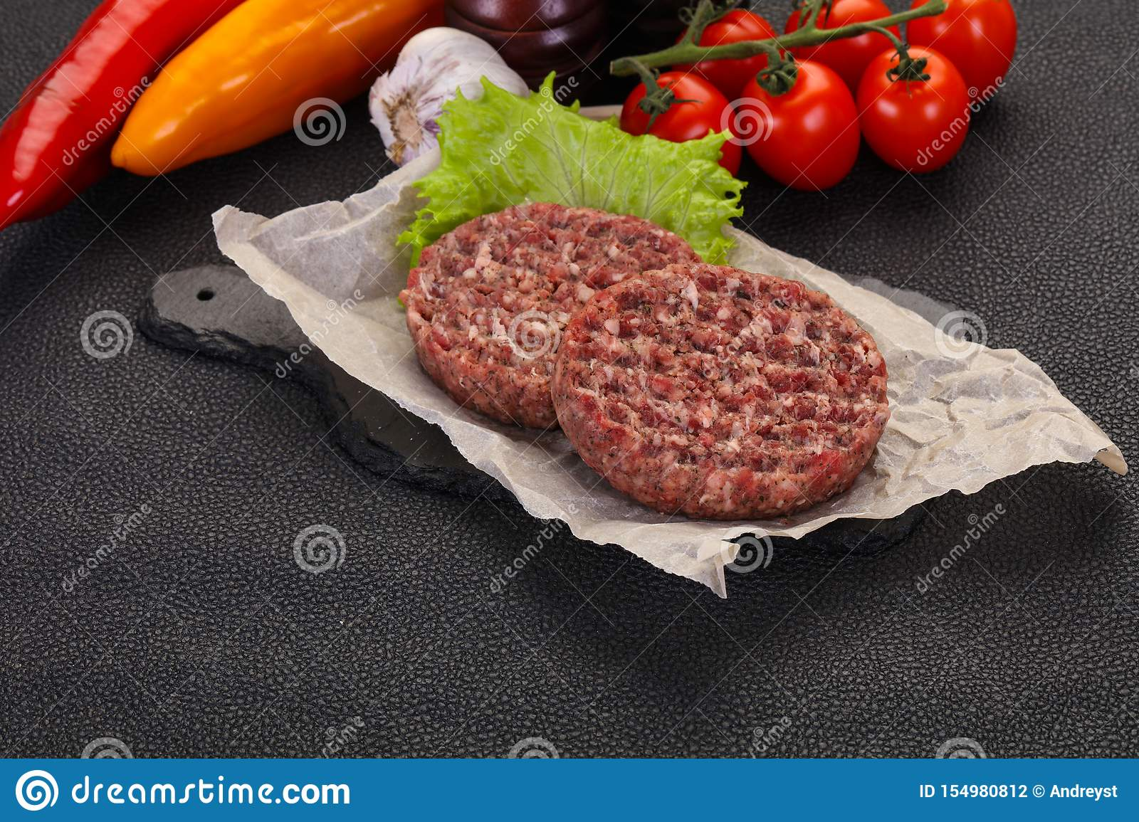Raw burger cutlet