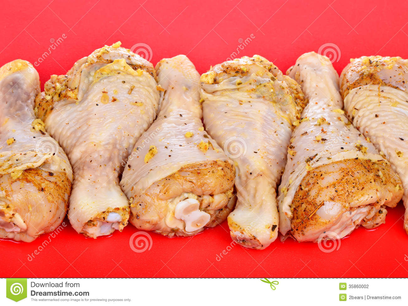 Raw Chicken Drumstick Marinated In Herbs Stock Photo ...