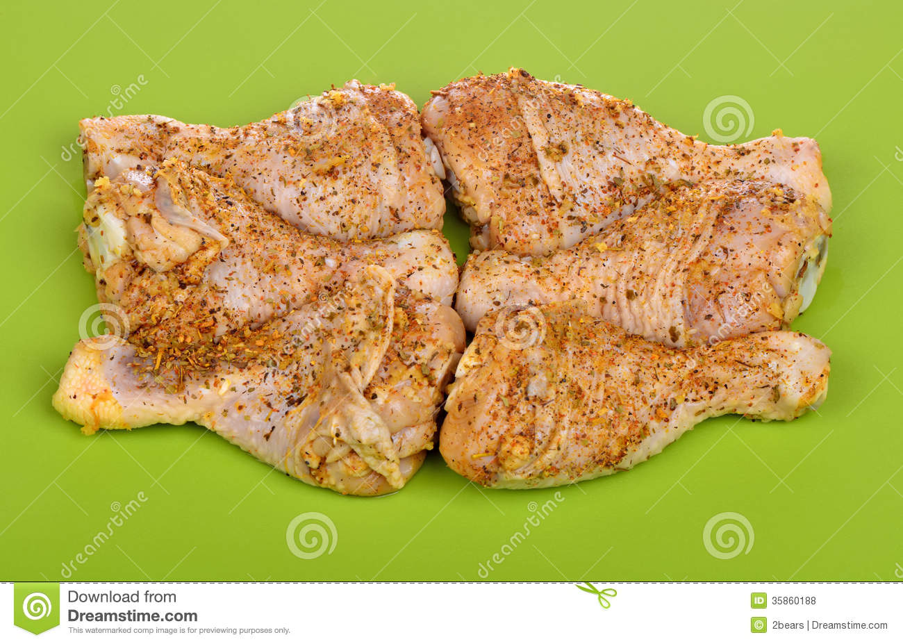 Raw Chicken Drumstick Marinated In Spices Royalty Free ...
