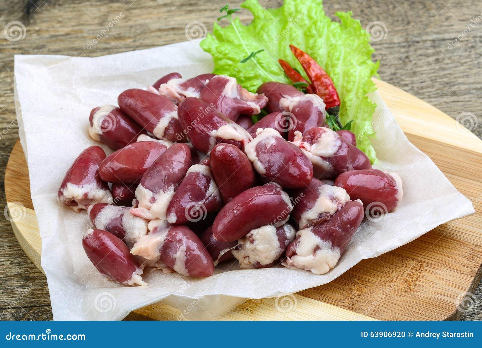 Raw Chicken Hearts Stock Photo 63906920 Megapixl
