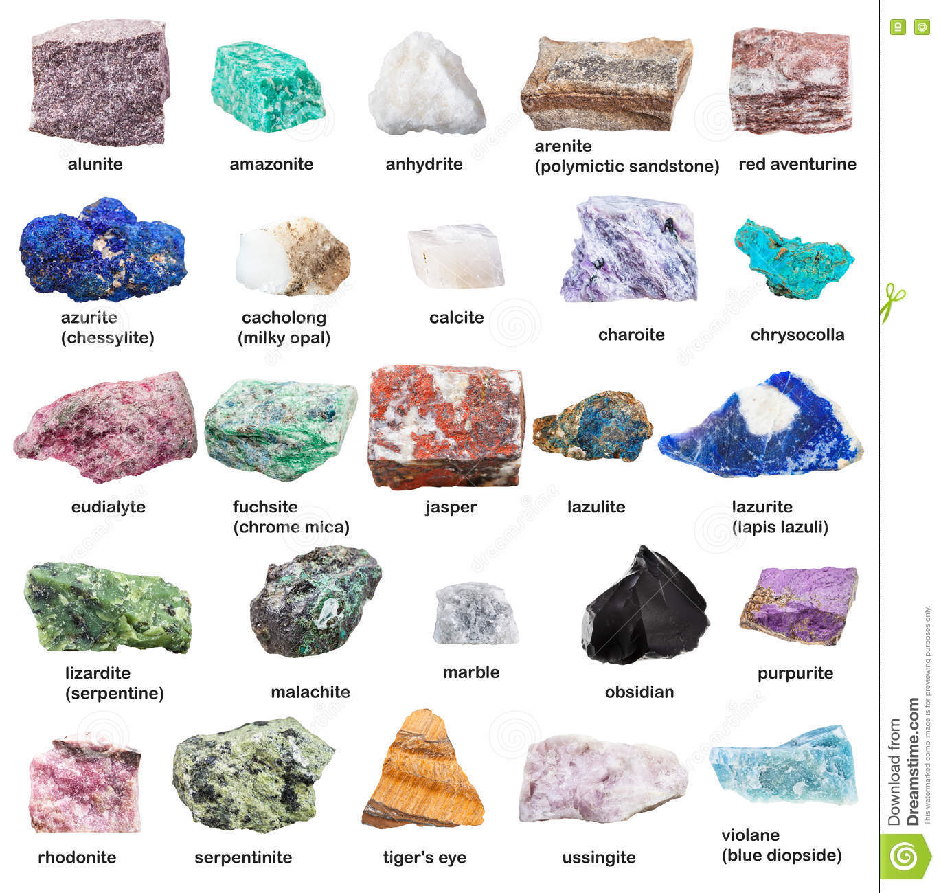 Names Of Decorative Stones : Raw decorative gemstones and minerals with names stock