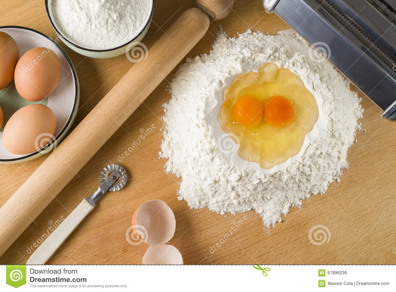 Raw Egg Pasta With Flour And Rolling Pin Stock Photo - Image: 67896236