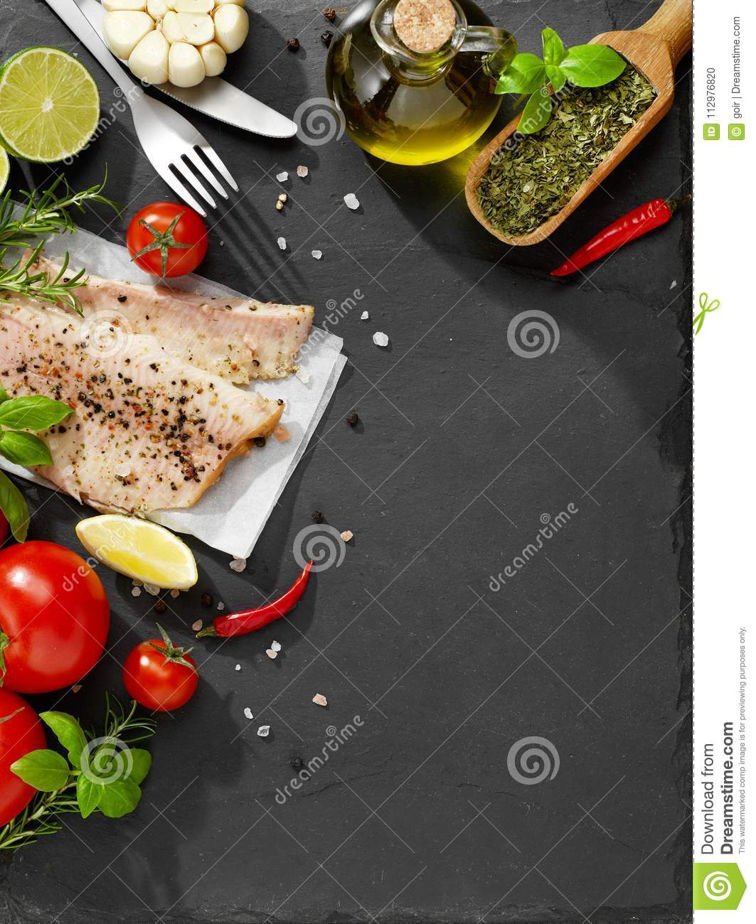 Raw fish and spices