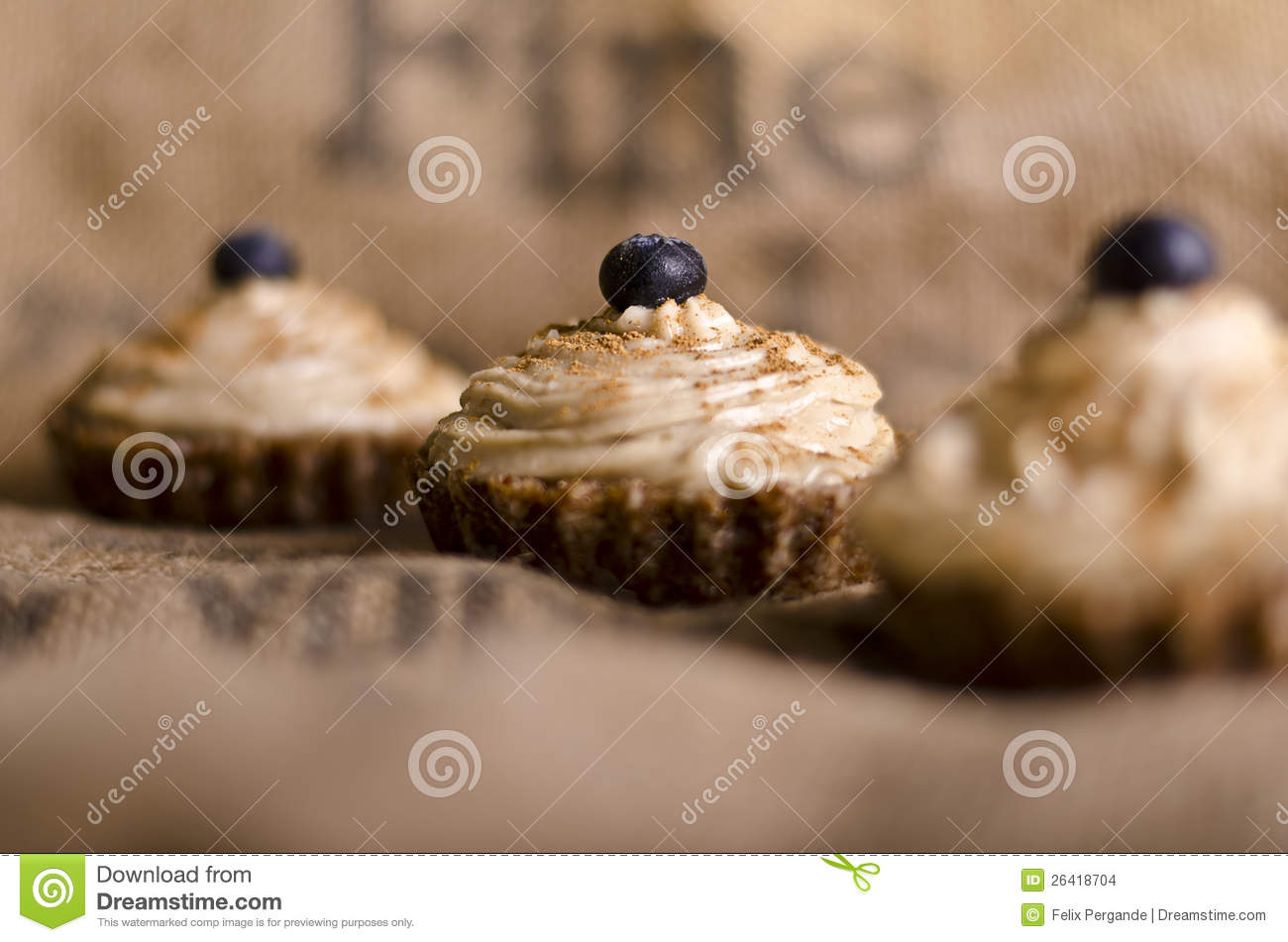 Raw food cupcakes with nutcream and blueberry on top, vegan ...