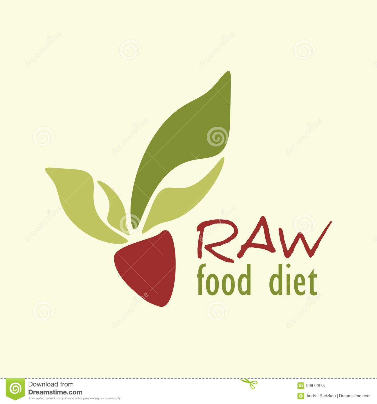 Raw Food Diet Logo With Abstract Vegetable Root Crop Stock ...