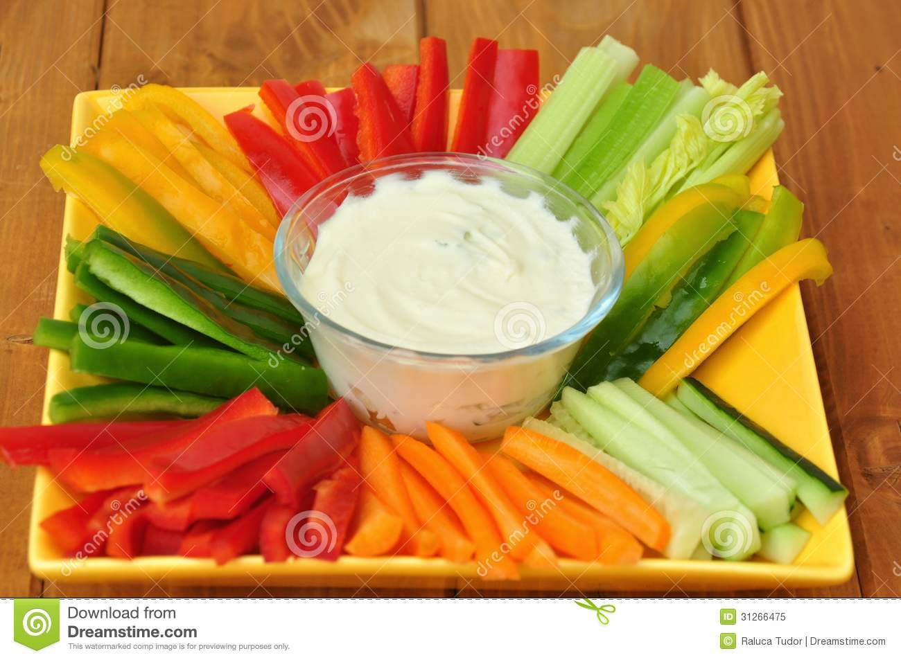Raw food with vegetables and dip