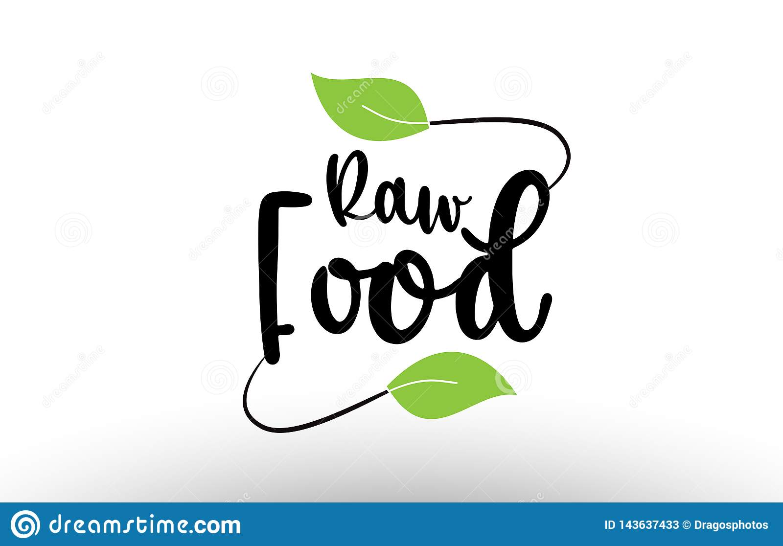 Raw Food Word Text With Green Leaf Logo Icon Design Stock ...