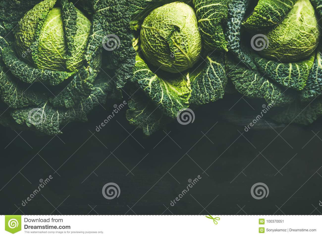Raw Fresh Uncooked Green Cabbage Over Dark Background Top View