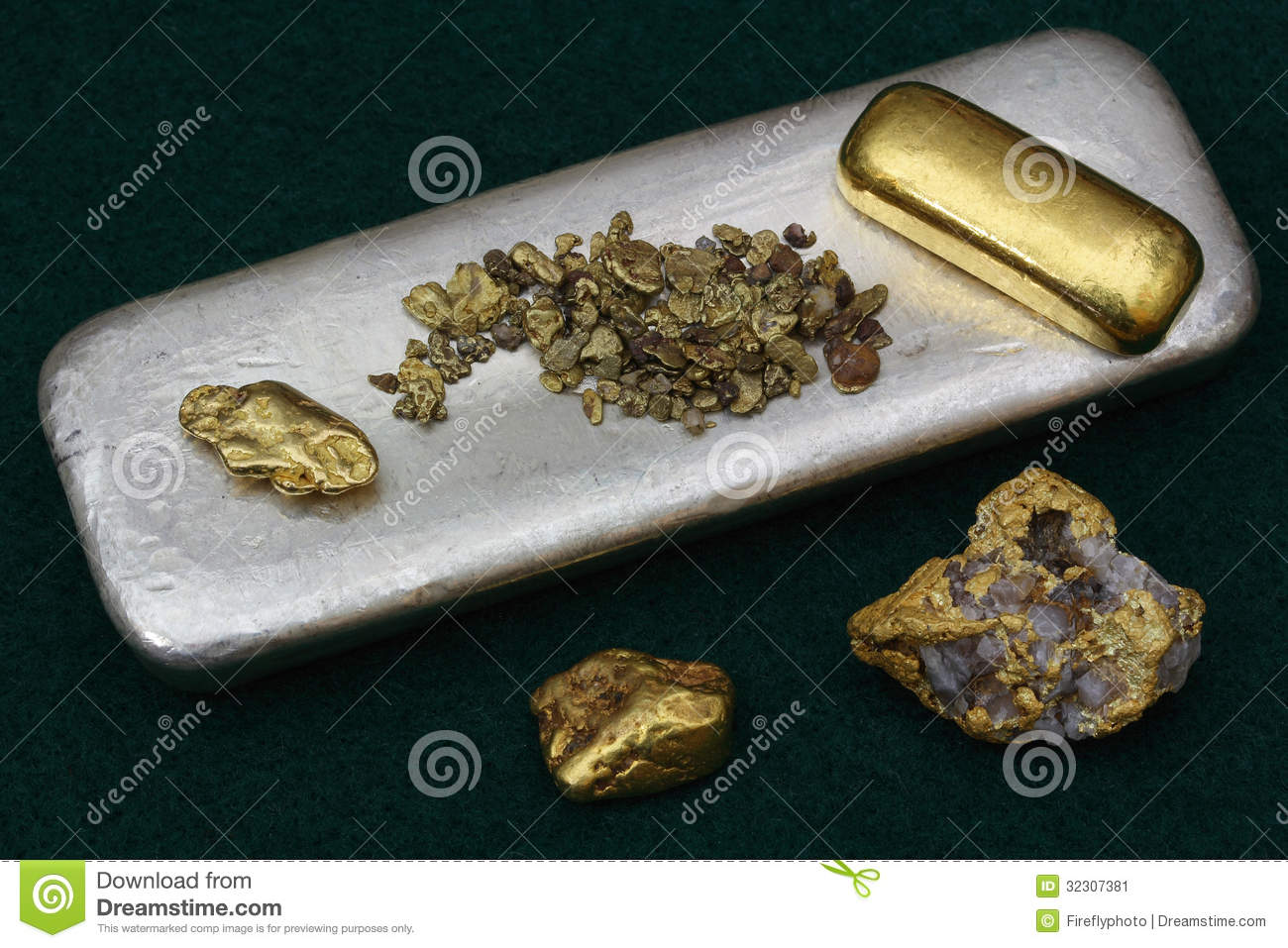 Raw Gold And Silver Bullion Stock Image Image 32307381