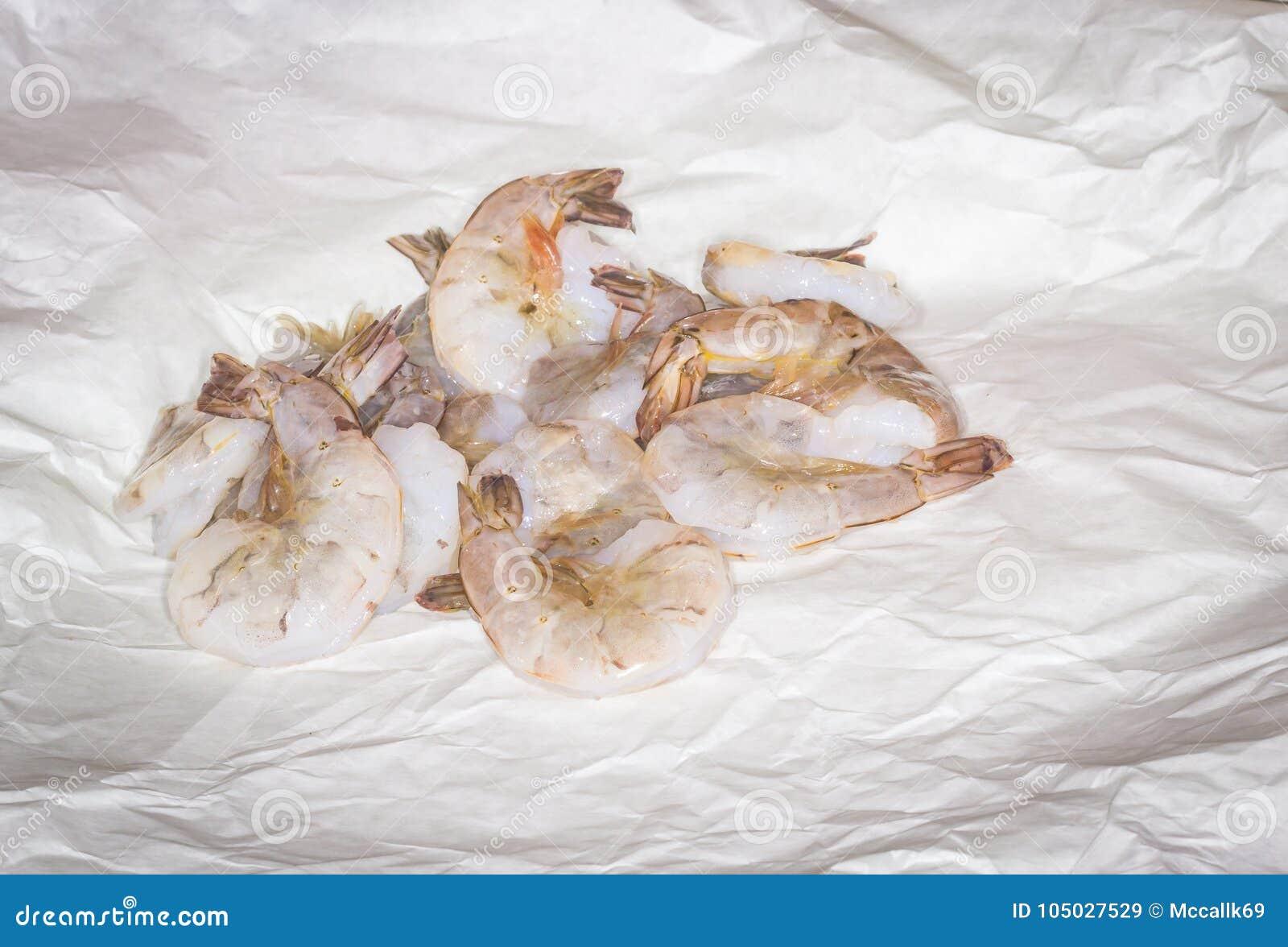 Raw Jumbo Shrimp On Wax Paper Stock Image Image Of Shrimp Paper