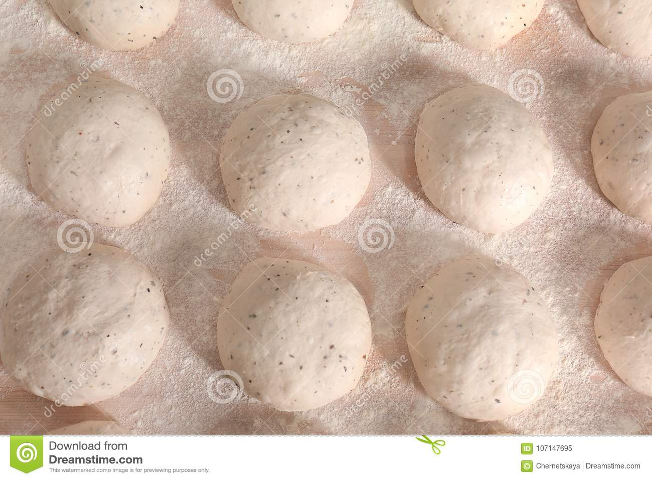Raw loaves of bread