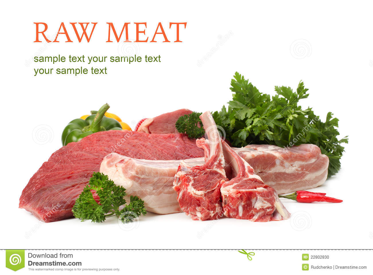 Raw meat assortment