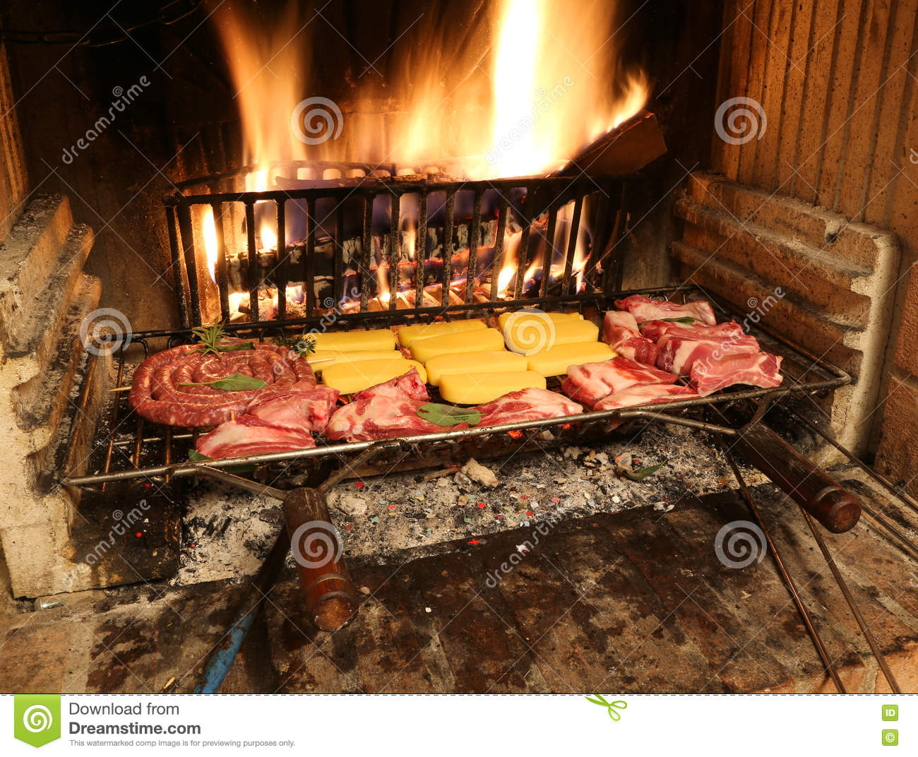Cooking Warmers Vintage Fireplace ~ Raw meat cooking in the fireplace with a warm fire lit