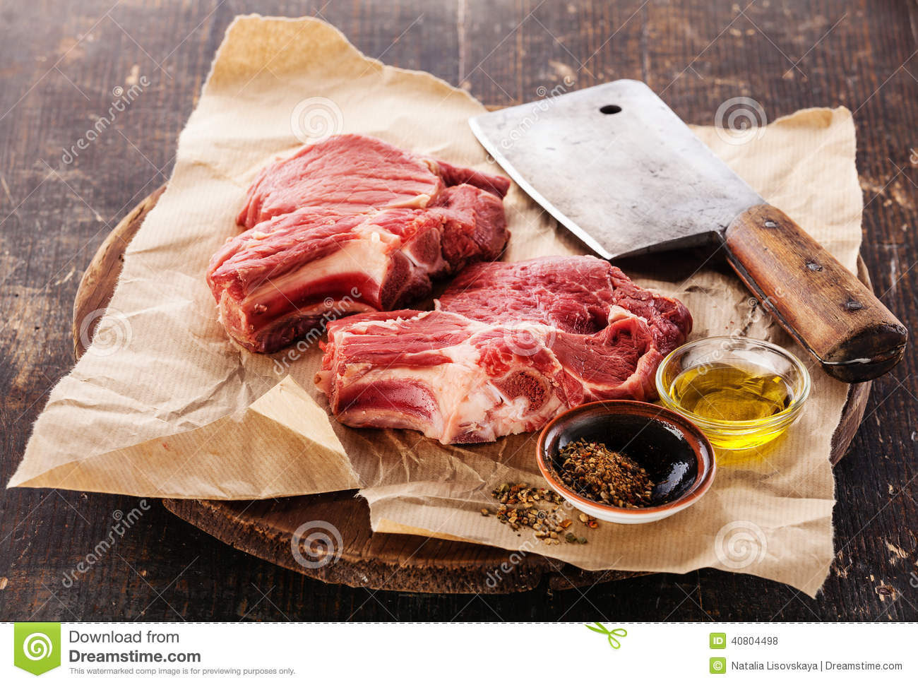 Raw meat and meat cleaver