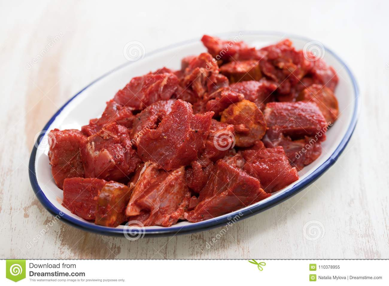 Raw Meat With Sauce On Dish Stock Image - Image of sliced