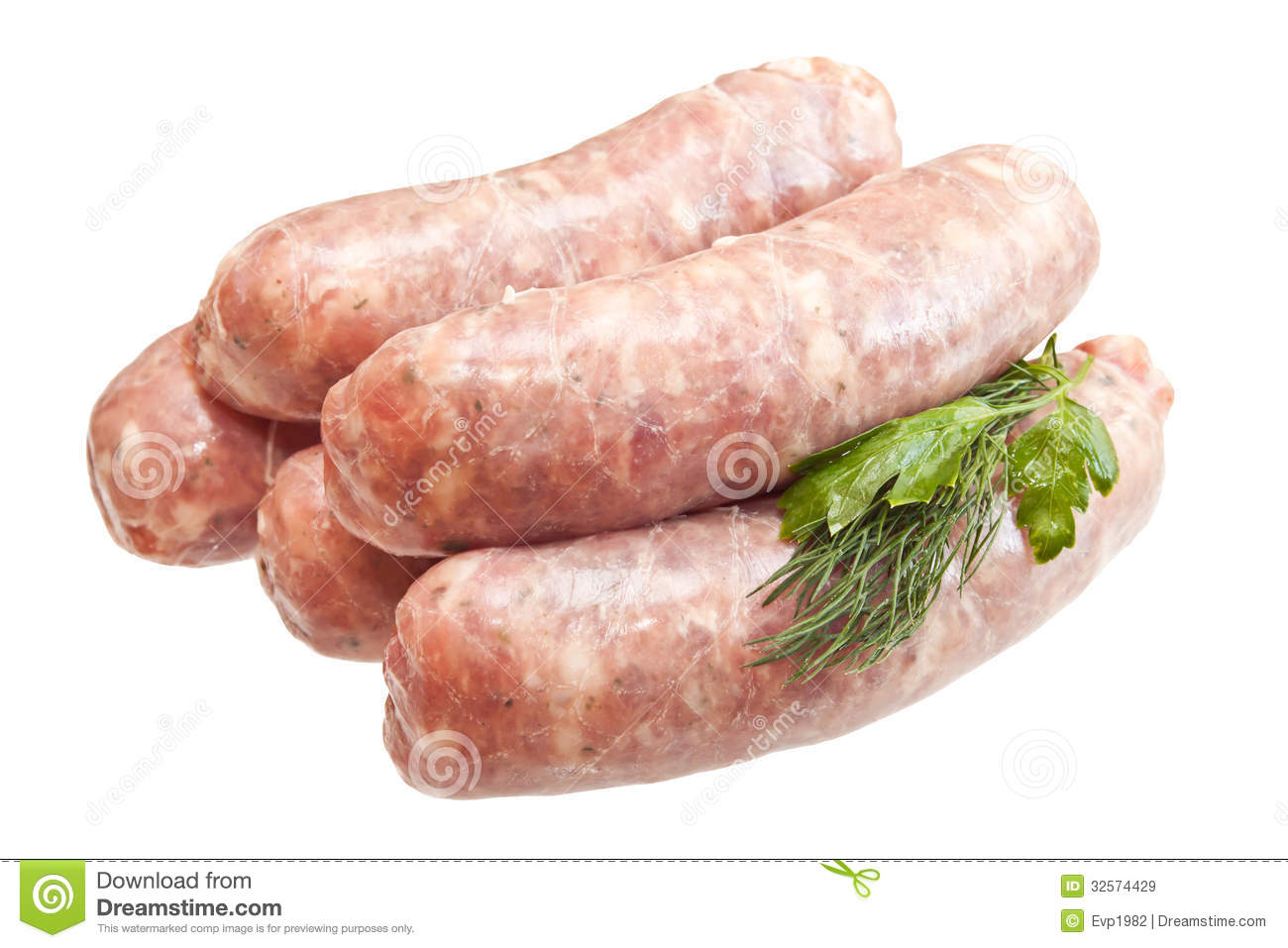 raw meat sausages with greens stock image image 32574429. Black Bedroom Furniture Sets. Home Design Ideas
