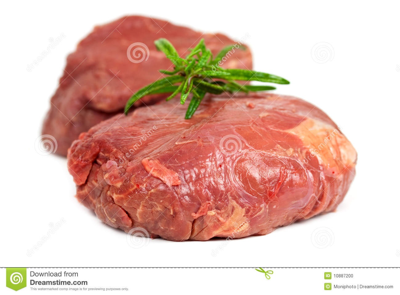 Raw mignon steak,isolated on white