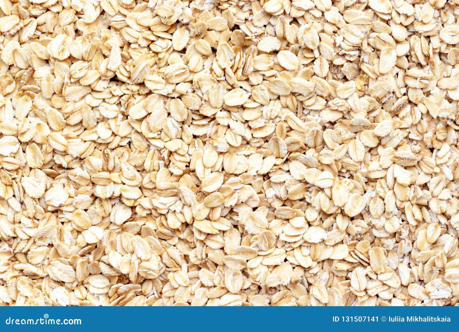 Raw Oat Flakes Texture, Healthy Porridge Background, Copy Space Stock Image