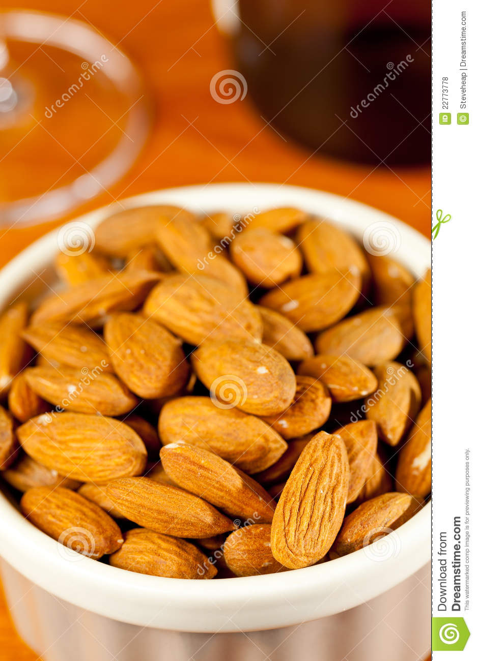 Raw Organic Almonds In Bowl Stock Photo - Image of many ...