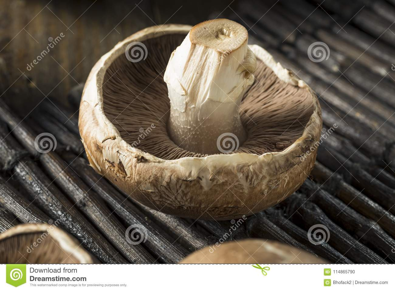 Raw Organic Portobello Mushrooms Stock Photo Image Of Delicious Button 114865790