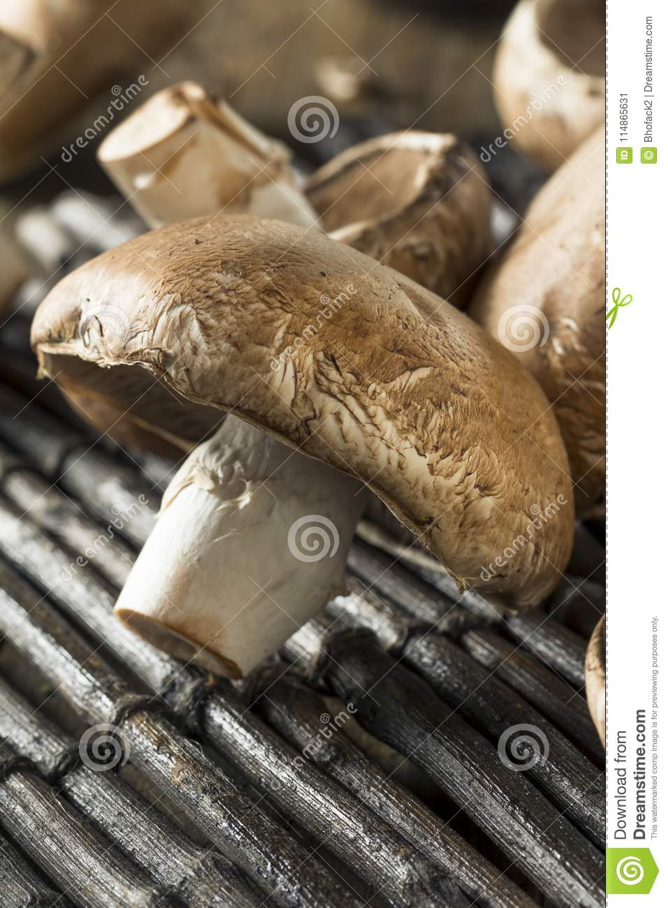 Raw Organic Portobello Mushrooms Stock Image Image Of Nature Portobello 114865631