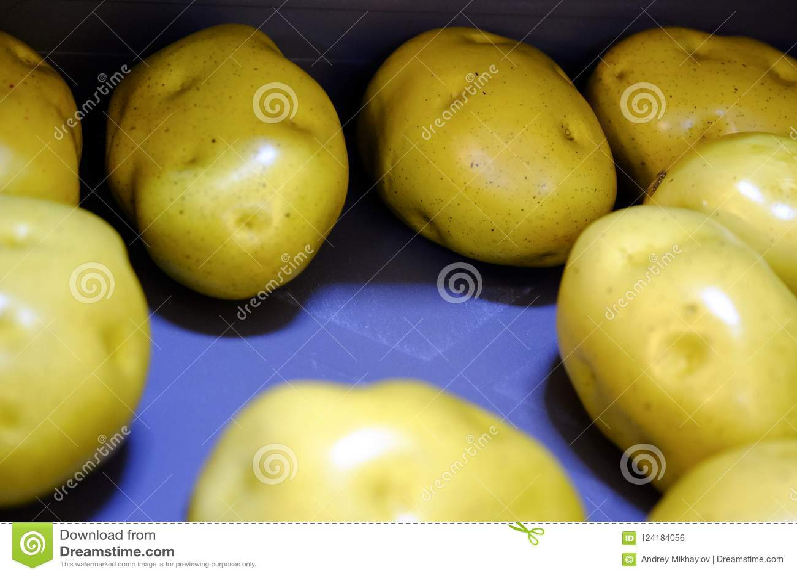 Raw potato tubers. Young washed potatoes.