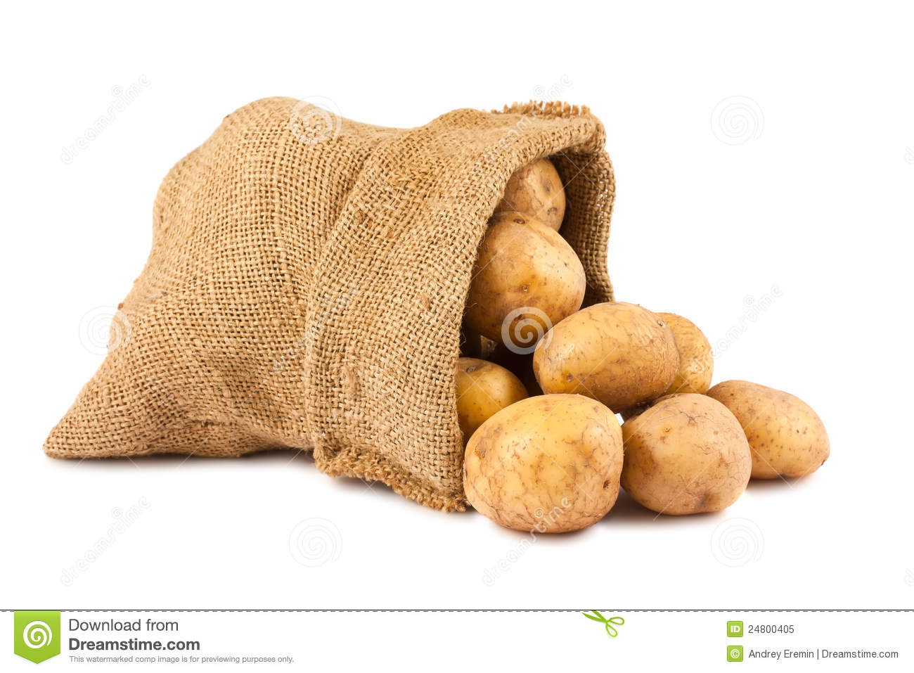 raw potatoes in burlap sack royalty free stock photo image 24800405. Black Bedroom Furniture Sets. Home Design Ideas