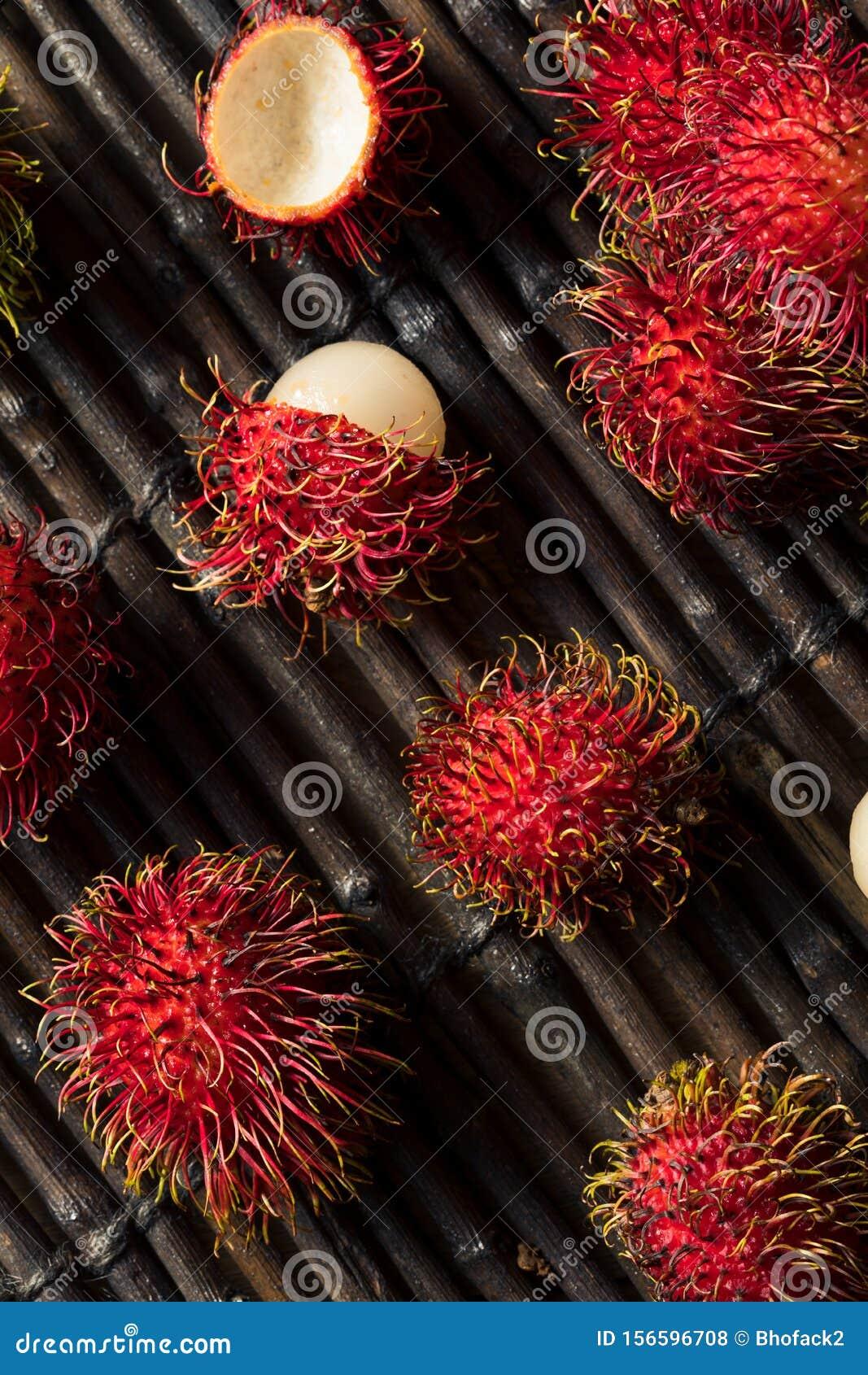 Raw Red Organic Rambutan Fruit