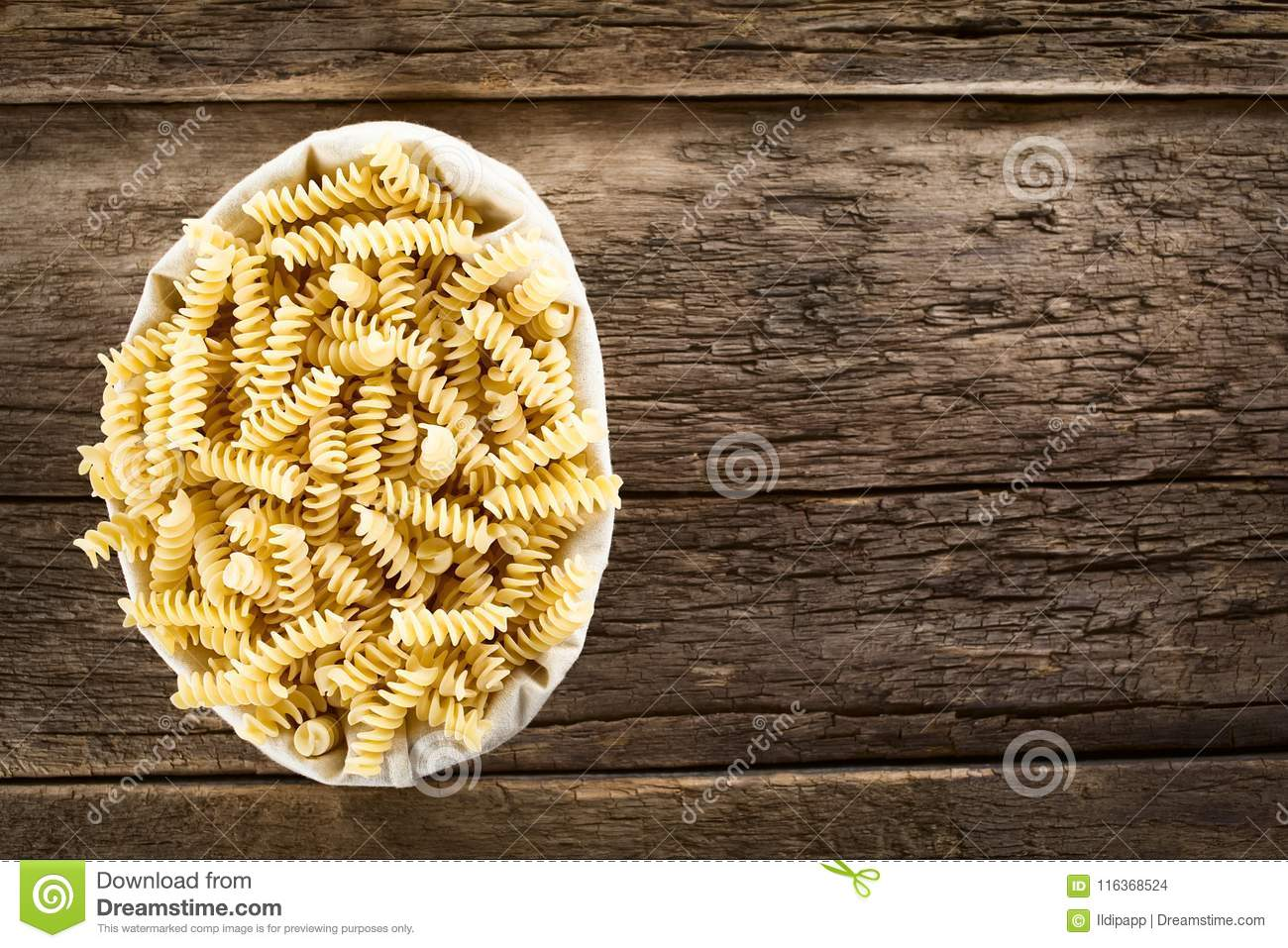 Raw Rotini or Fusilli Pasta