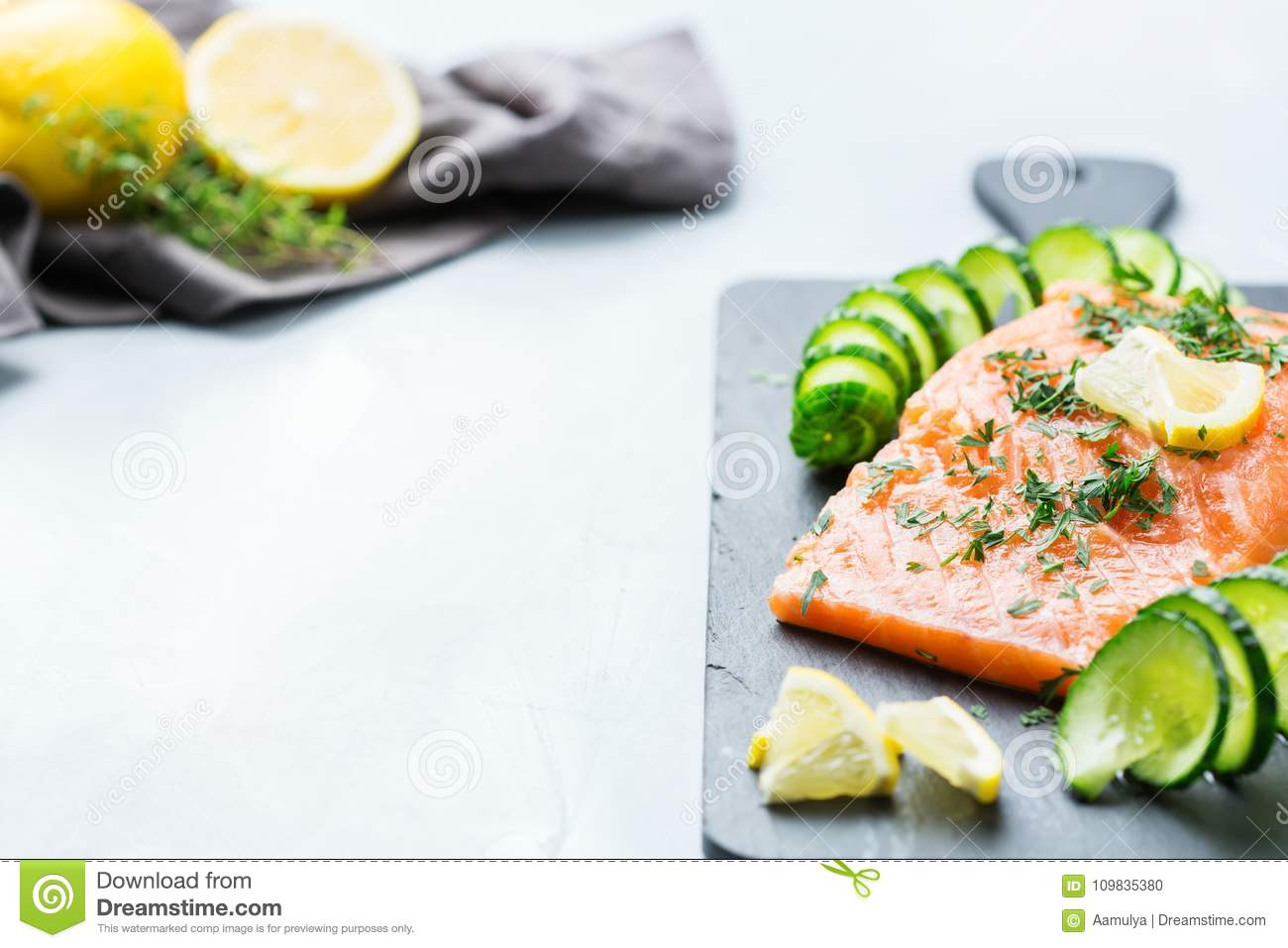 Raw Salmon Fillet For Cooking Japanese Food Stock Photo Image Of