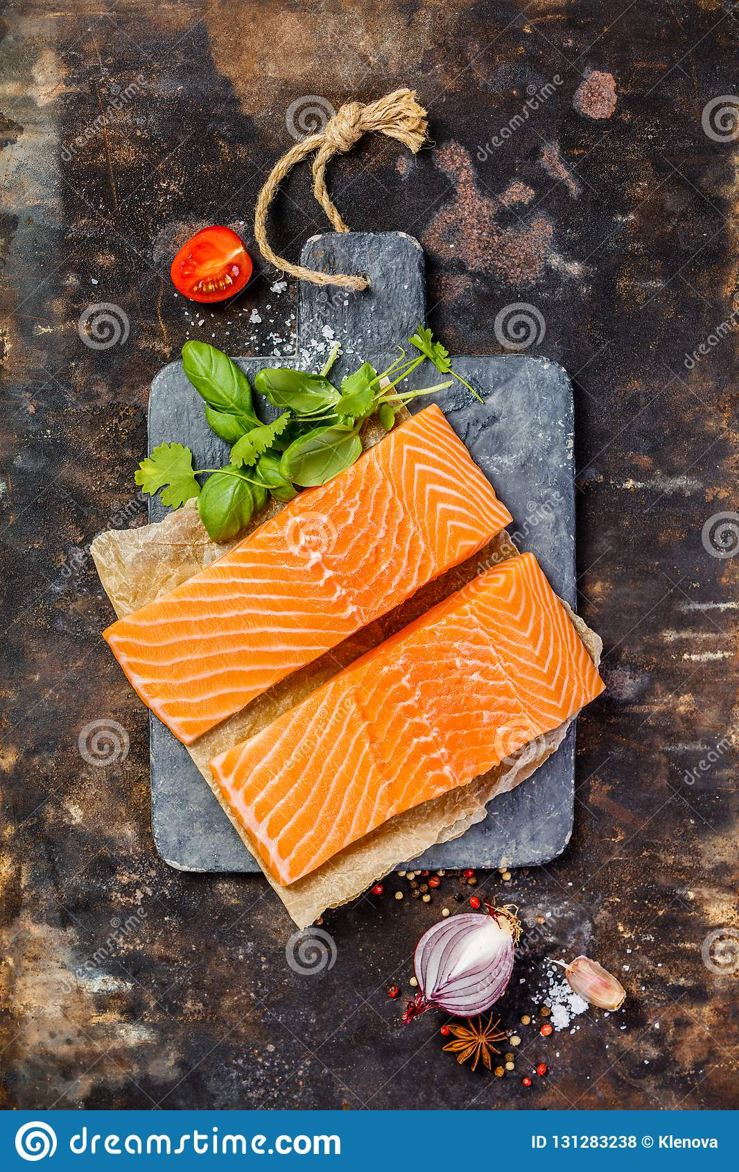 Raw Salmon Fillet And Ingredients For Cooking Stock Photo Image Of