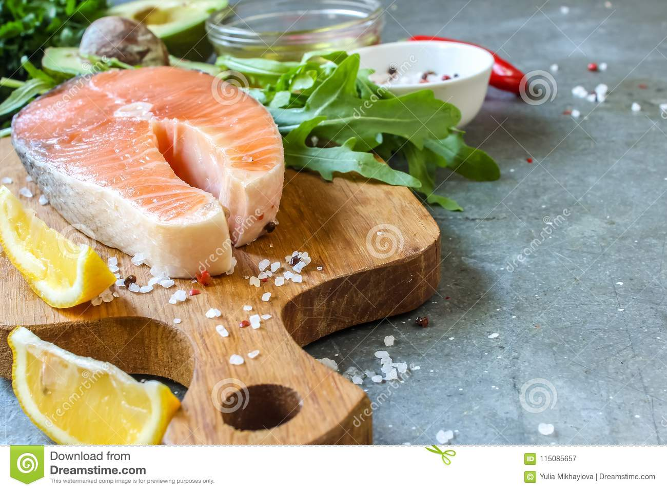 Raw Salmon Fillet And Ingredients For Cooking Stock Image Image Of