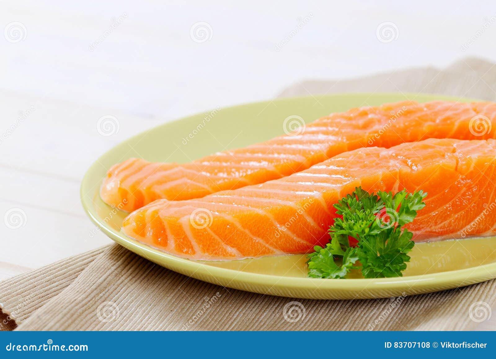 Raw Salmon Fillets Stock Photo