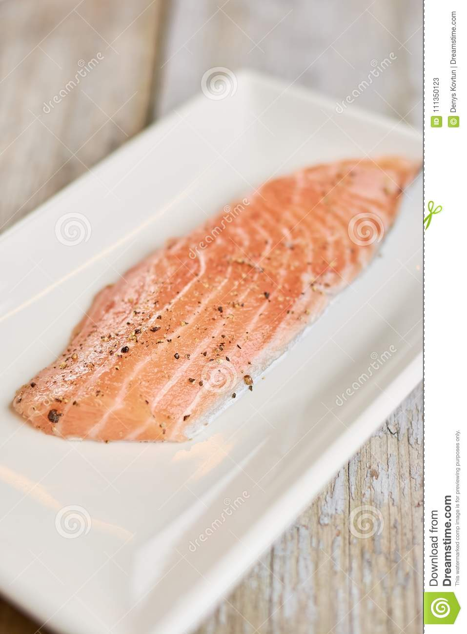 Raw Salmon Prepared With Salt And Spices Stock Image Image Of
