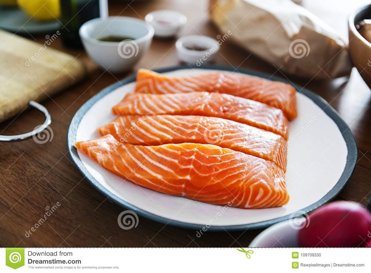 Raw Salmon Preparing To Be Cooked Stock Photo Image Of Nobody