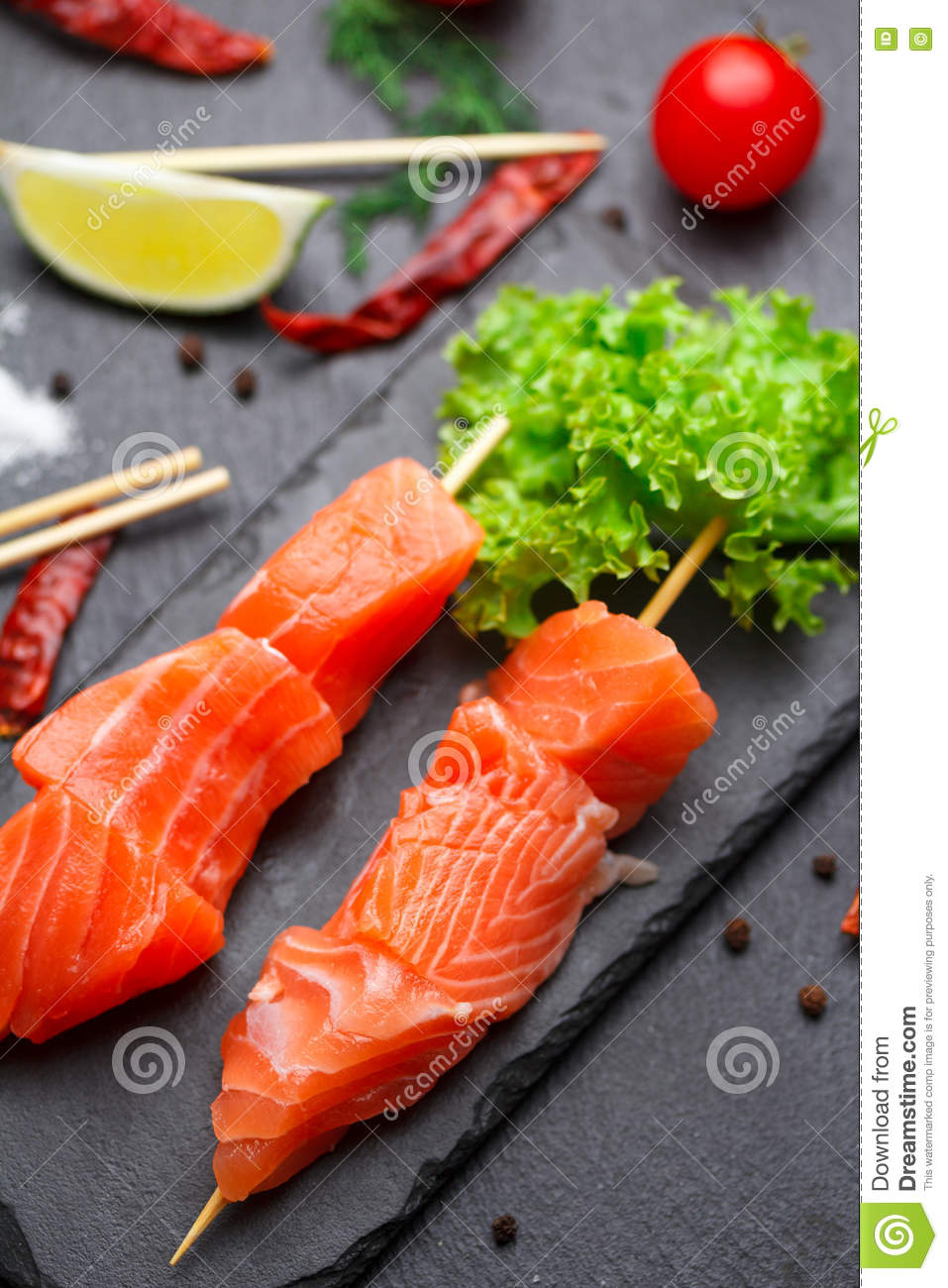Raw Salmon Skewers On A Stone Plate Stock Image Image Of Roast