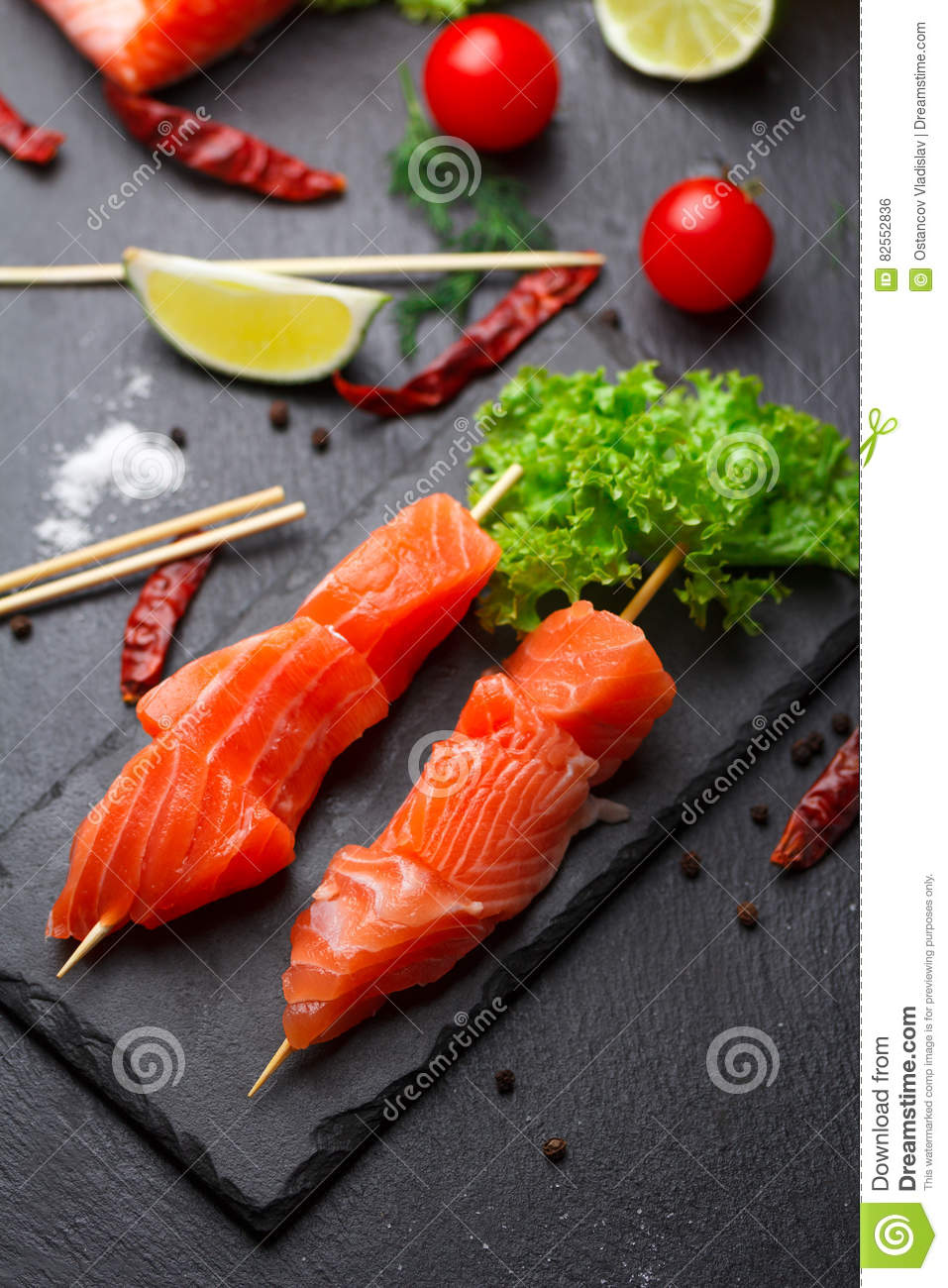 Raw Salmon Skewers On A Stone Plate Stock Photo Image Of Grill