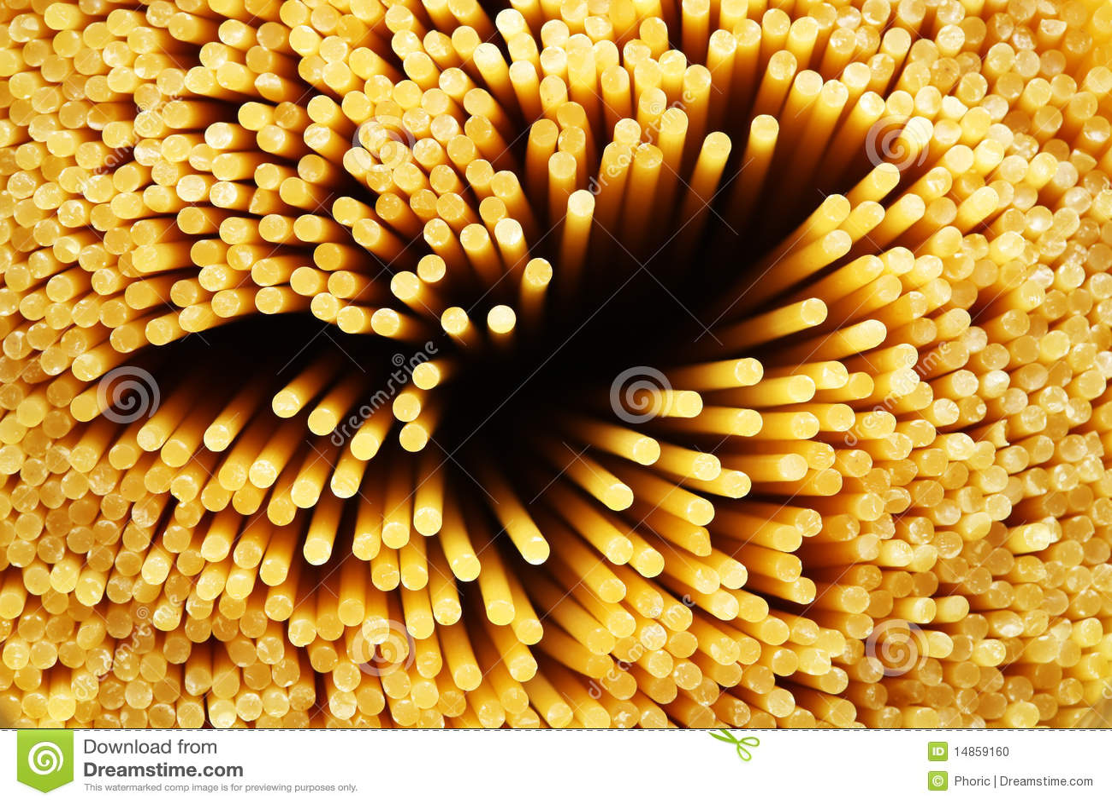 Raw spaghetti noddles closeup