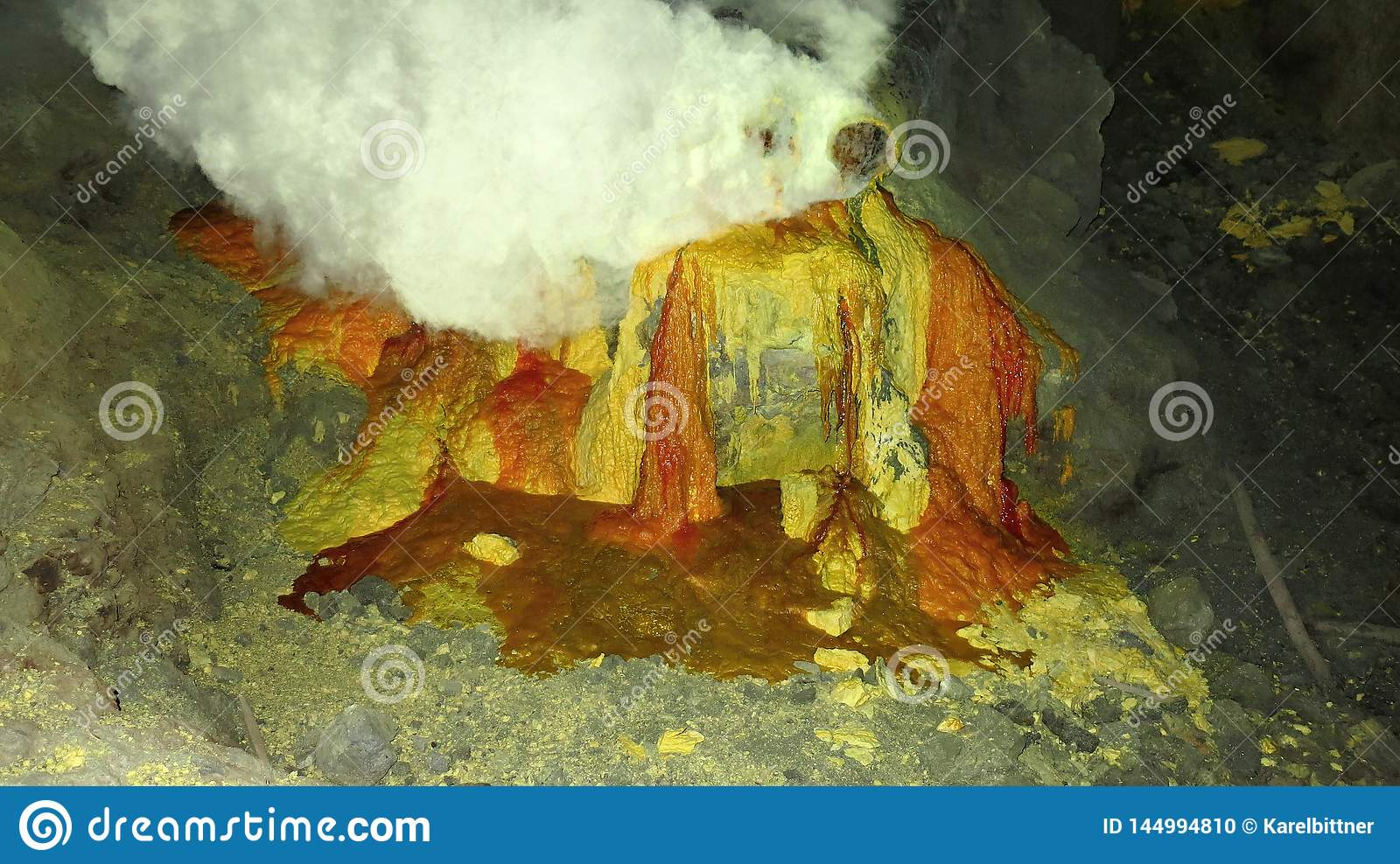 Raw sulfur mining in the crater of Kawah Ijen active volcano on Java