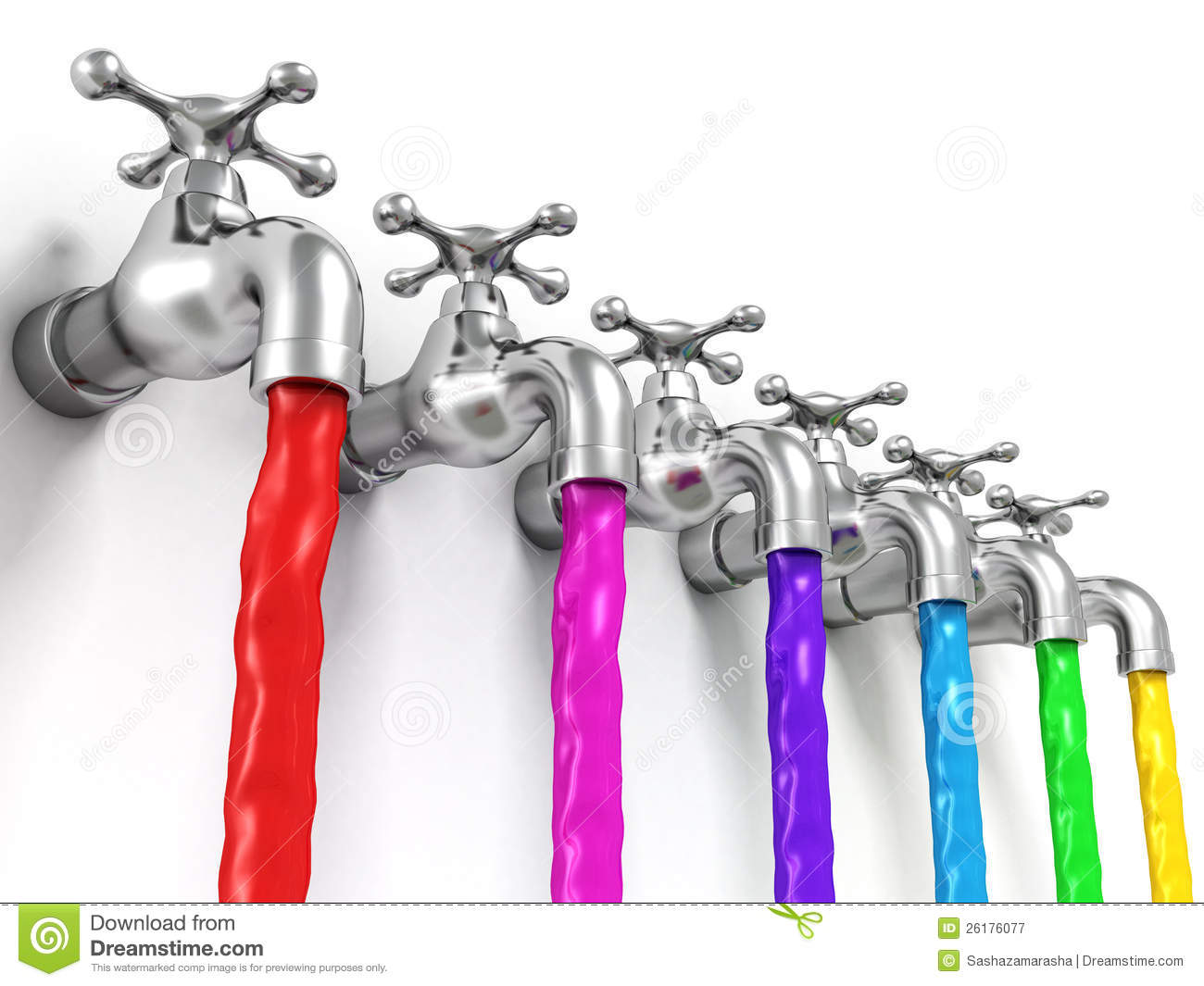 Raw of taps with paint jets on white background