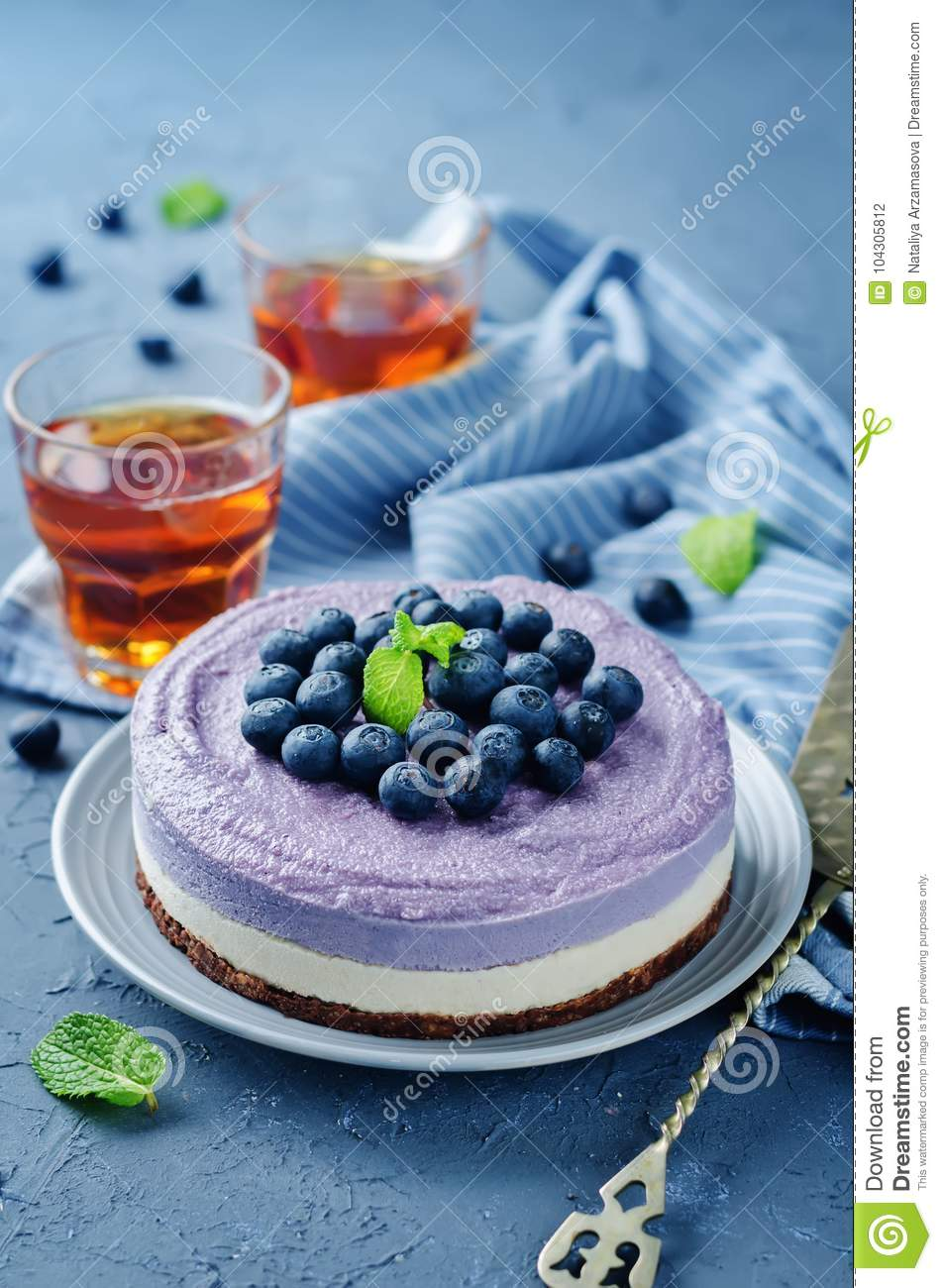Remarkable Raw Vegan Blueberry Cashews Cake Stock Photo Image Of Delicious Personalised Birthday Cards Paralily Jamesorg