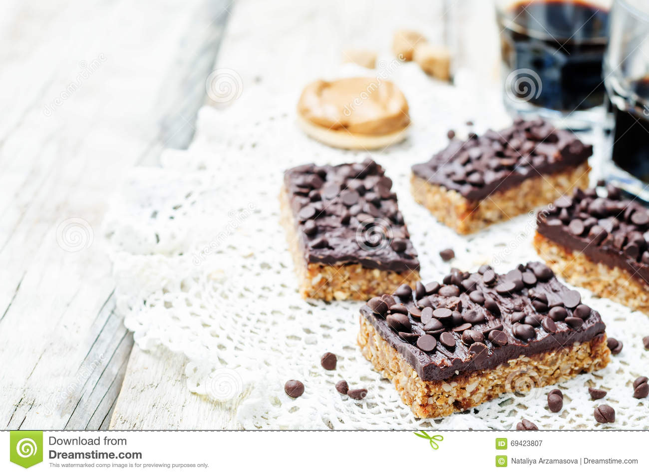 Raw Vegan Dates Oats Peanut Butter Bars With Chocolate