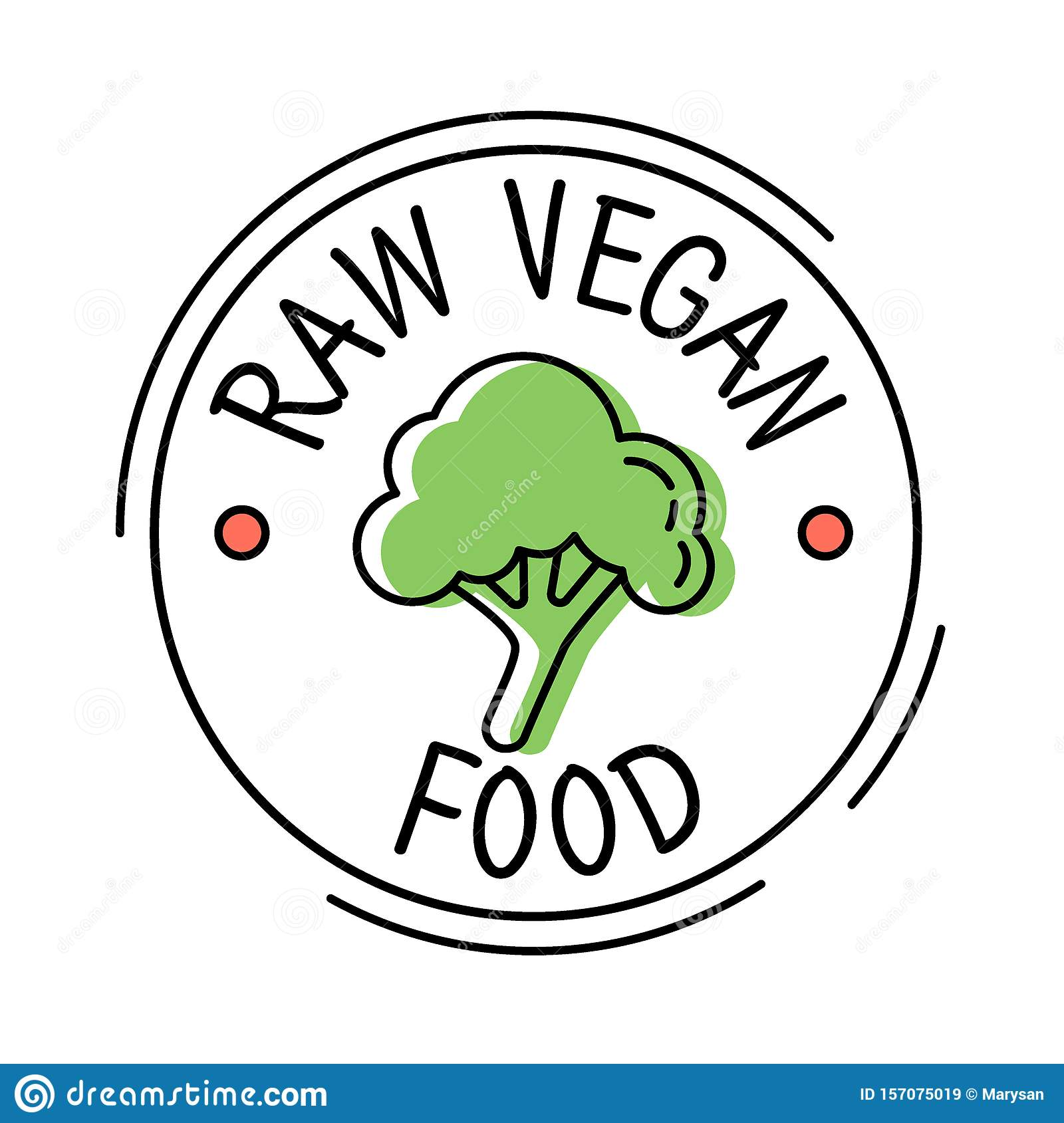 Raw Vegan Food Label Line Style Logo With Green Broccoly ...