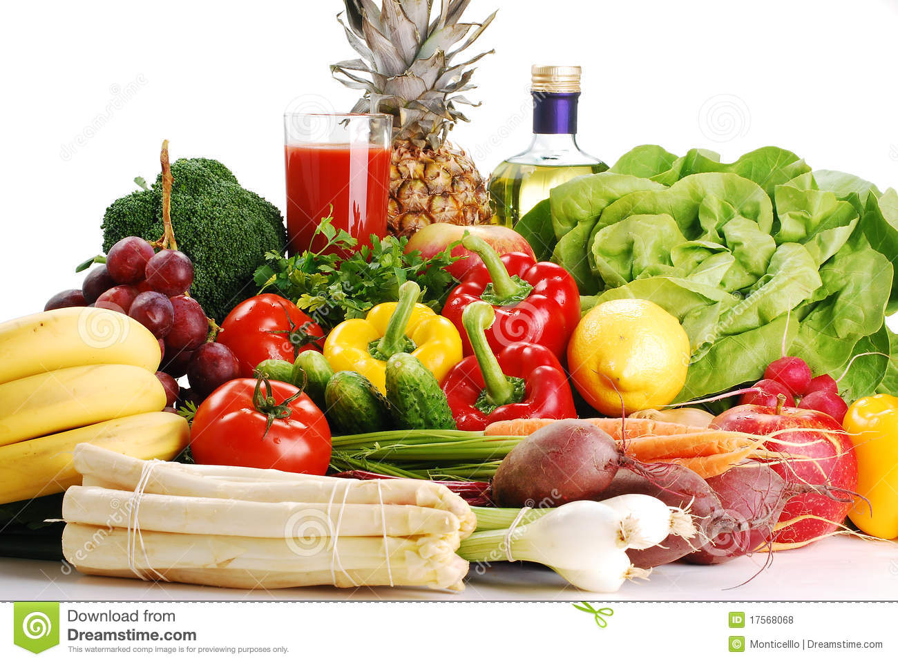 Raw Vegetables And Glass Of Juice Royalty Free Stock