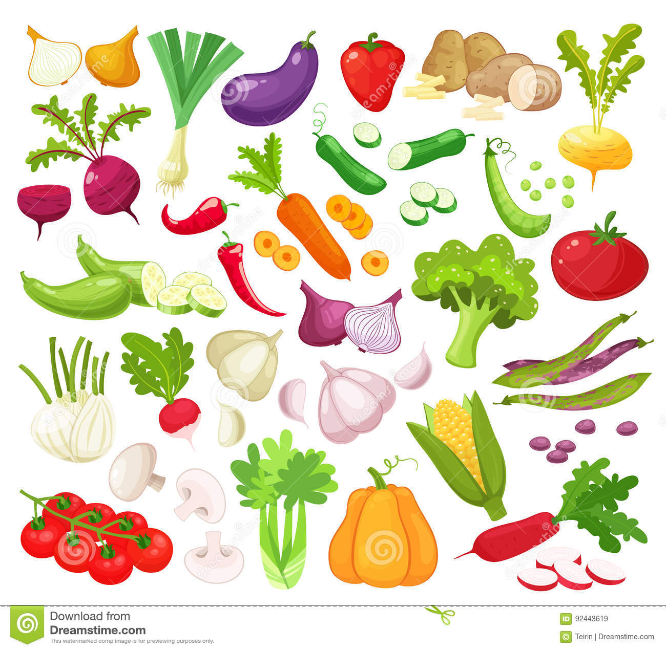Download Raw Vegetables With Sliced Isolated Realistic Icons With Pepper Eggplant Garlic Mushroom Courgette Tomato Onion Cucumber Stock Vector - Illustration of peppers, health: 92443619