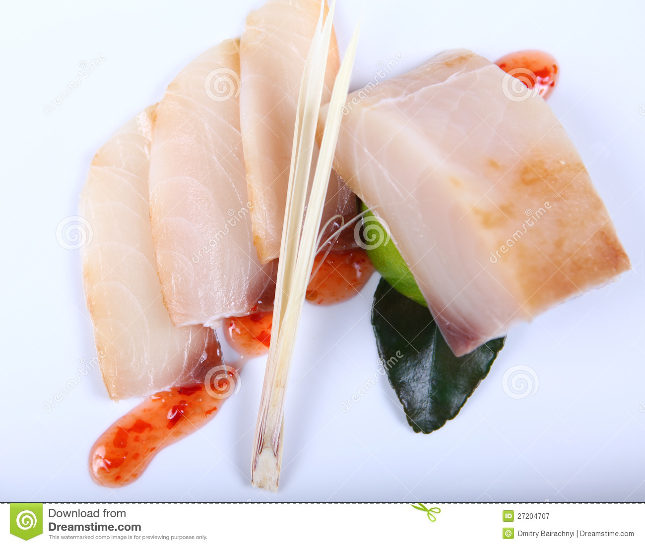 Raw white fish with sauce royalty free stock photography for White sauce for fish
