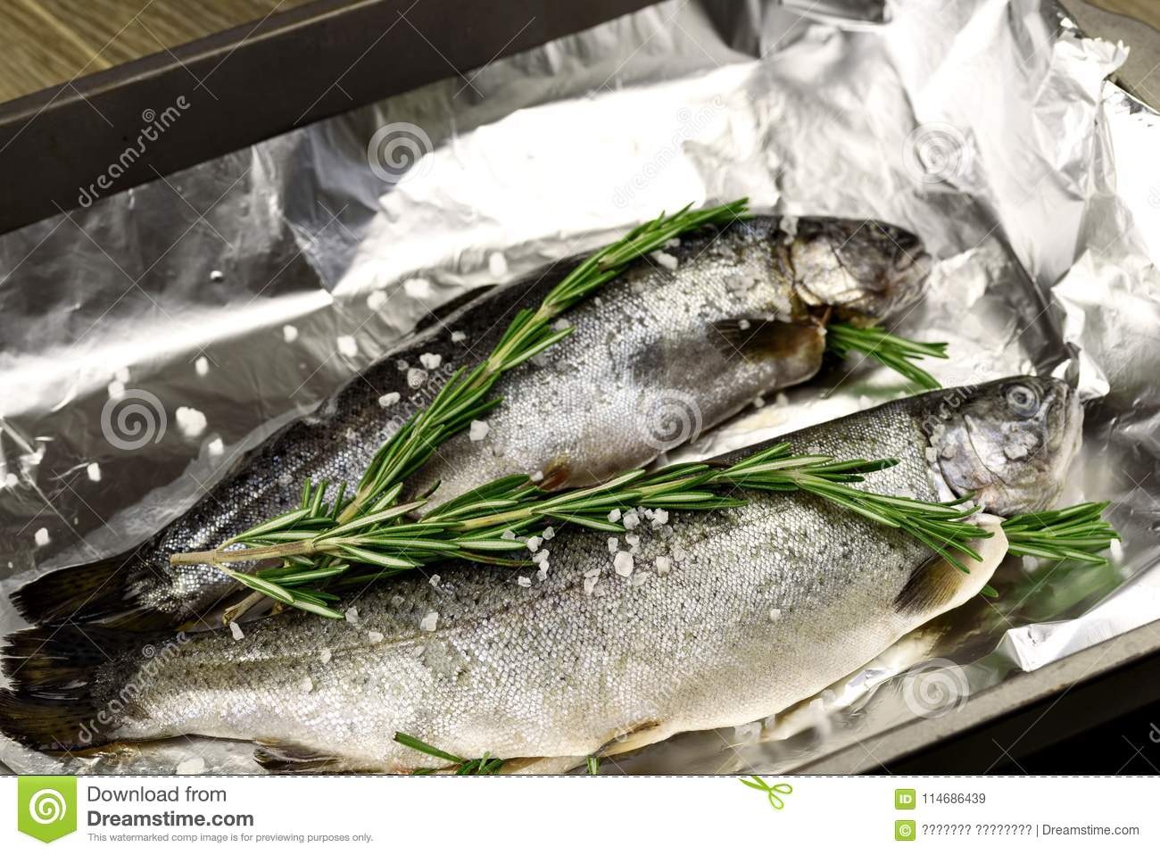 Raw whole trouts. Seafood concept